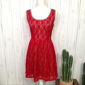 Bebop red and gray lacy dress